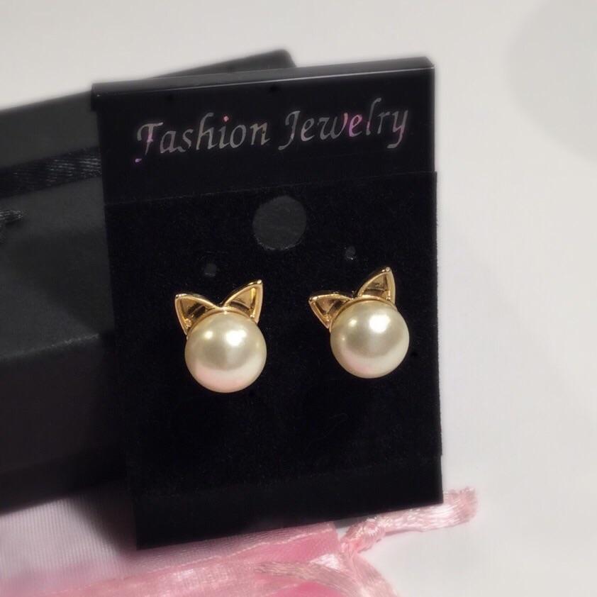 laag geprijsd erkende merken couponcodes Katten Oorbellen - Golden Pearl
